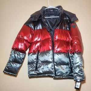 GUESS Large Men Shiny Hooded Quilted Puffer jacket